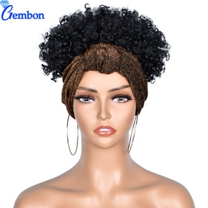 6'' Headband Wig High Puff Short Afro Kinky Curly Ponytail Headwrap Drawstring  Ombre Synthetic Wigs High Temperature For Women