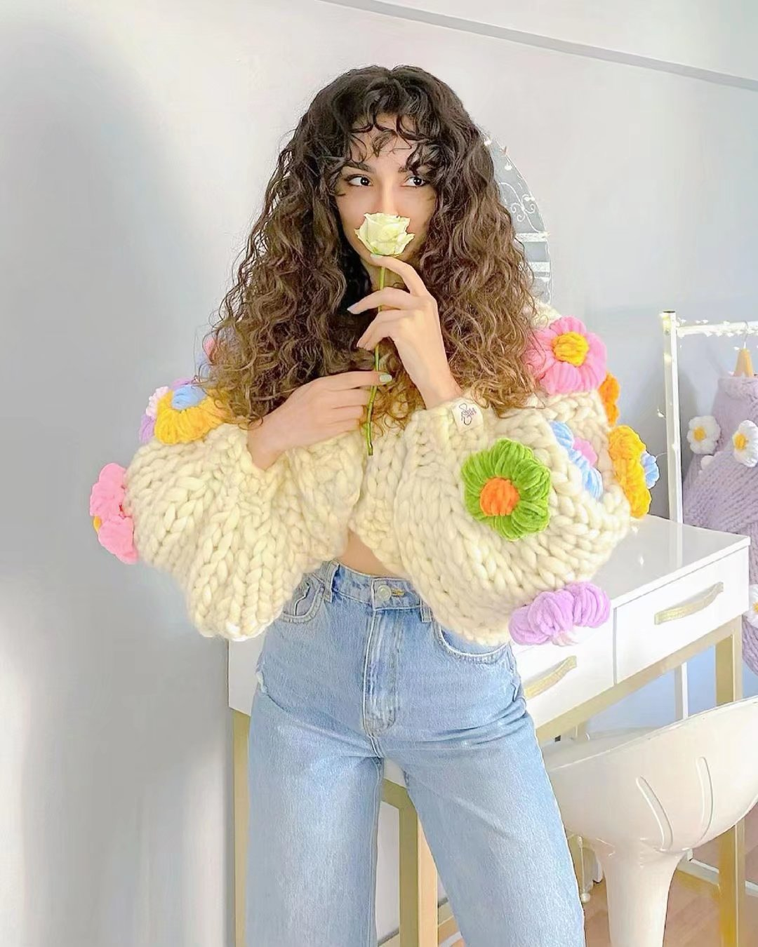 Floral White Cropped Sweater Winter Cute Girl Vintage Knit Kawaii Puff Sleeve Short Hollow Out Crop Top Sweaters Fall 2021 Women enlarge