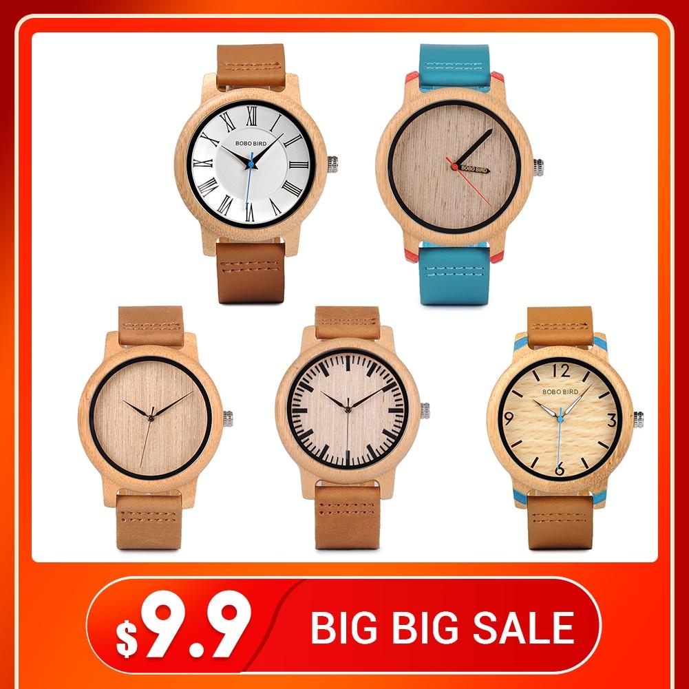 BOBO BIRD Promotion Wooden Watch Men Ladies Clearance Sale Price Leather Strap Quartz Wristwatches Accept Dropship OEM
