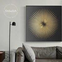 Affiches dart mural de mode 1 piece   Feuilles dorees  pour decoration de maison moderne  peintures dhuile sur toile imprimees HD