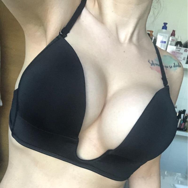 2020 mujeres sujetadores push-up sexy profundo u transparente ajustable de las correas de silicona de 70 75 80 85 90 95 A, B, C, D, E de