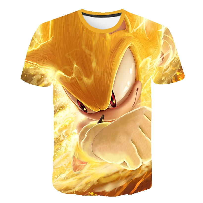 Футболки Sonic, детская одежда, футболки для мальчиков, Детская футболка с мультяшным рисунком, рубашки для девочек, одежда с коротким рукавом,...