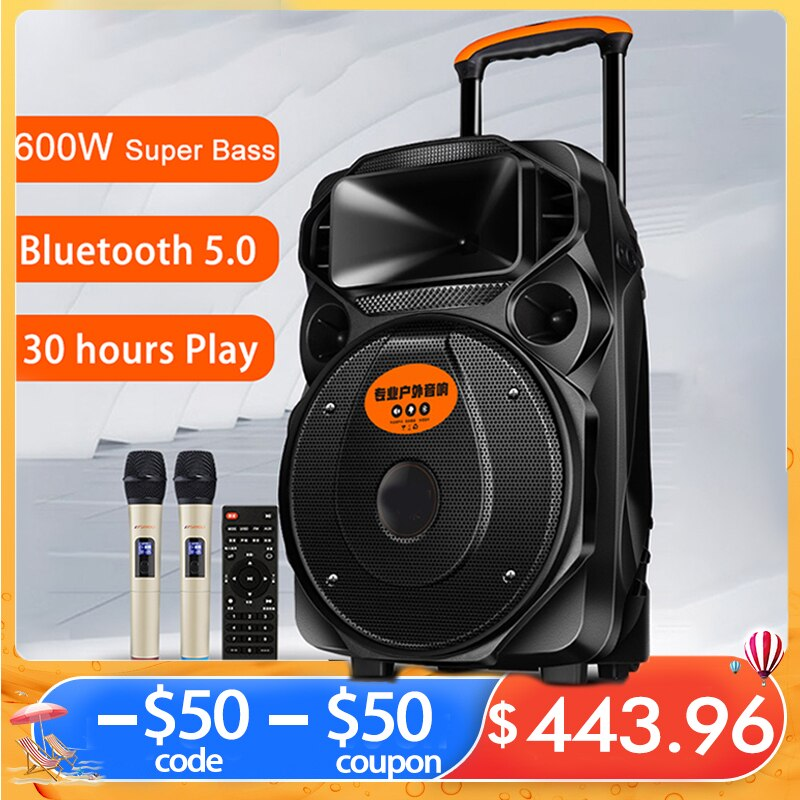 Review Bluetooth-compatible Speaker Wireless Subwoofer 600W Portable Super Bass Stereo HiFi Outdoor Karaoke Microphone AUX TF Speaker