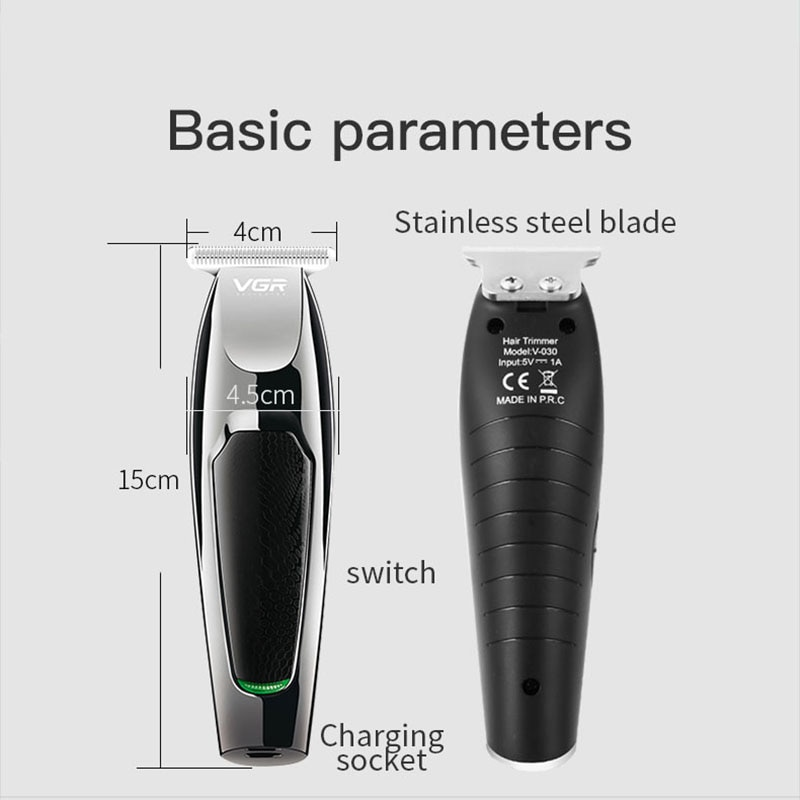 VGR Professional Waterproof Hair Trimmer Beard Trimer Face Body Hair Clipper Electric Hair Clippers Men Cordless Trimmer For Men