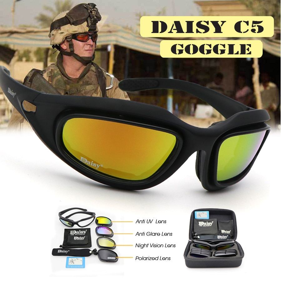 Daisy C5 Polarized Army Goggles Military Sunglasses 4 Lens Kit Men's Desert Storm War Game Tactical