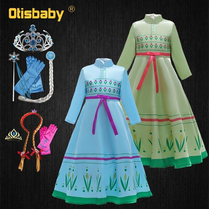 3-12Y Elsa 2 Elsa Anna vestido Navidad infancia Drsss Año Nuevo carnaval princesa disfraz de Halloween niño Elza vestir Cosplay