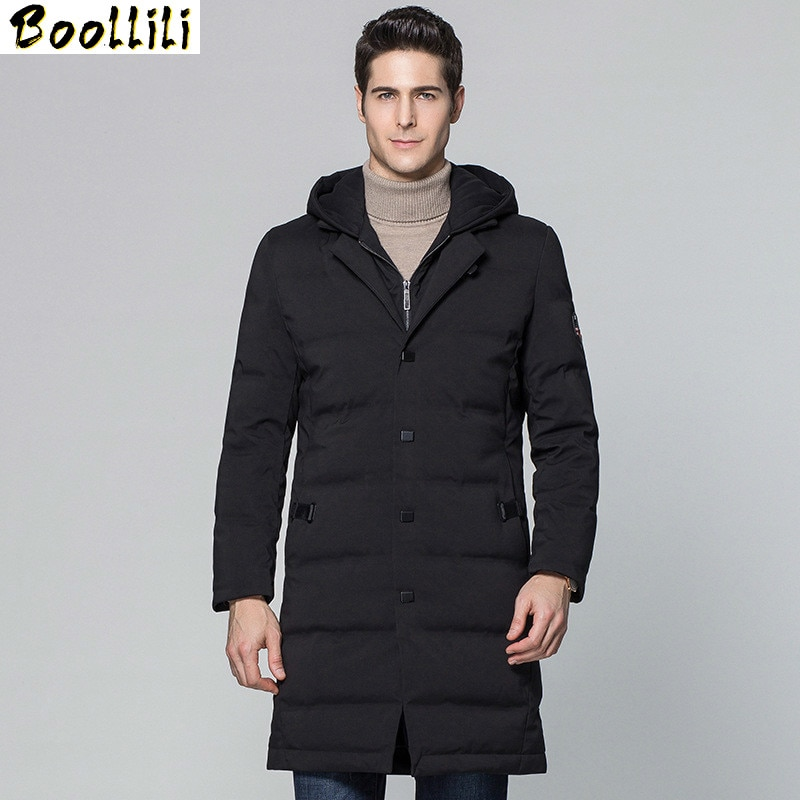 Boollili, chaqueta de plumón de pato con capucha para invierno, abrigo largo y cálido para hombre, chaquetas para hombre, novedad de 2020, abrigo Parka, abrigo Masculino