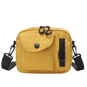 2021 Women Korea Japanese Style Canvas Causal Small Canvas Shoulder Sloping Messenger Crossbody Bag Square Mobile Phone Bag