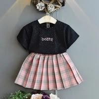 2021 summer plaid cute girls clothes sets fashion toddler kids clothing children 3 7y skirtt shirt set