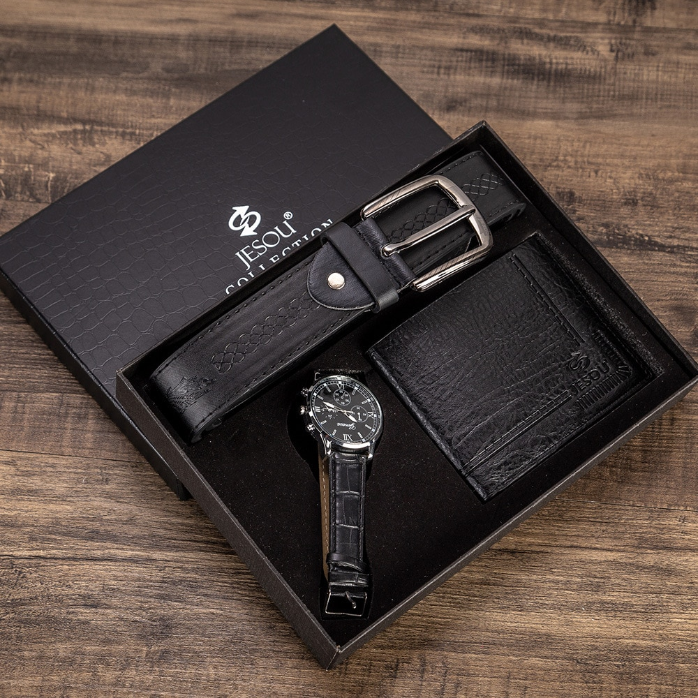 Set -3pes/set Men's Gift Set Beautifully Simple Creative Packed Watch +Wallet+Belt Men Fashion Watch Quartz  Combination Set