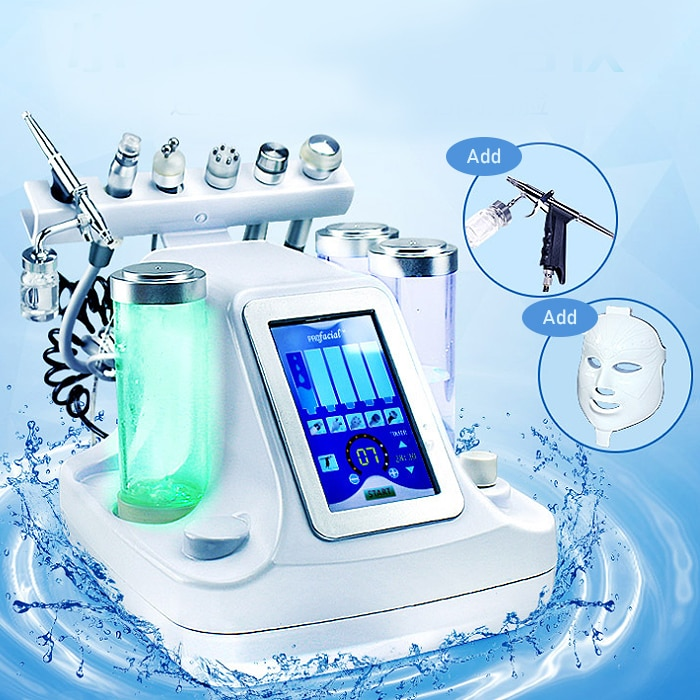 7 in 1 Small Bubble Oxygen & Water Jet Peel Hydrafacial Cleaning Facial Machine RF Blackhead Acne Va