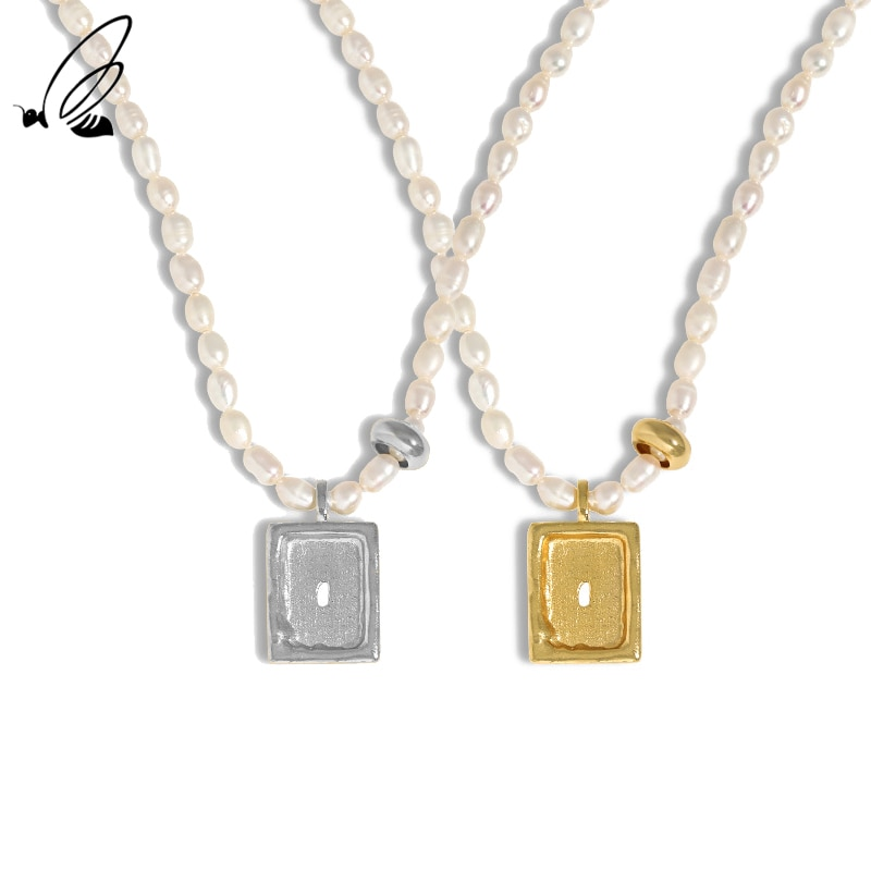 S'STEEL 925 Sterling Silver Freshwater Pearl Pendant Necklace  For Women's Minimalist Geometric Text
