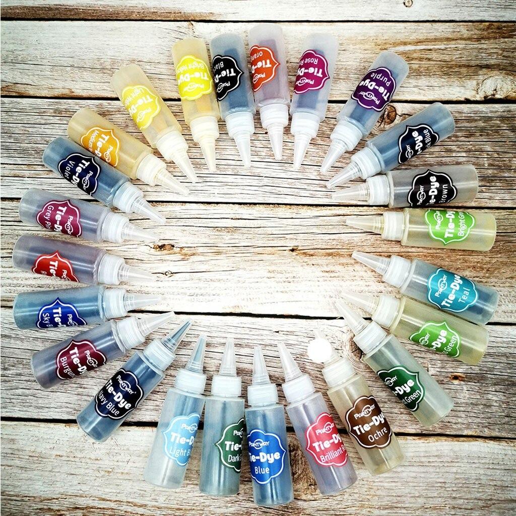 24 couleurs cravate colorant tulipe permanente une étape Tye teinture Kits de bricolage pour tissu Textile artisanat Art vêtements pour colorants permanents peinture # F5