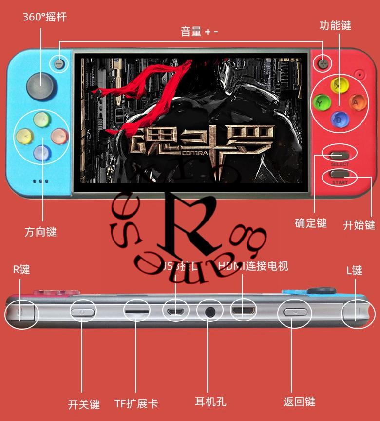 Powkiddy x7 5.0 polegada retro handheld game console jogadores de jogos de vídeo mp4 mp5 reprodução built-in 200 jogos tf extensão hdmi tvout