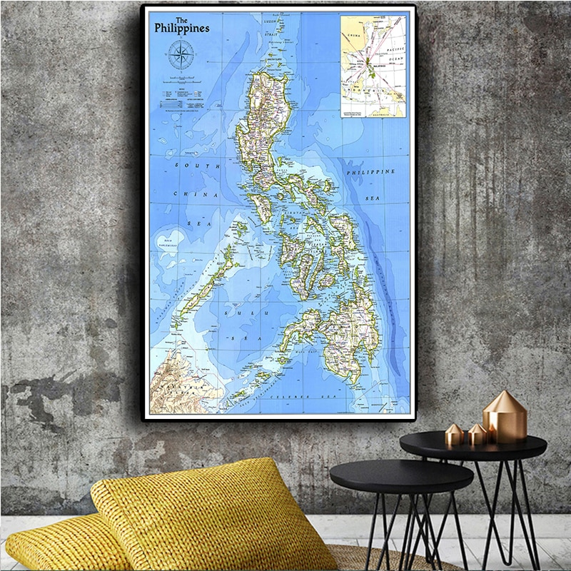 225*150cm Vintage Philippines Map 1986 Wall Art Poster Non-woven Canvas Painting Decorative Card Living Room Home Decoration