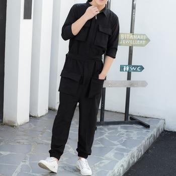 Hair Stylist Slim-fit Overalls Jumpsuits, Close-fitting Feet, Nine Points Pants, 9 Points, Jumpsuit, Tide, Male, Korean Version,