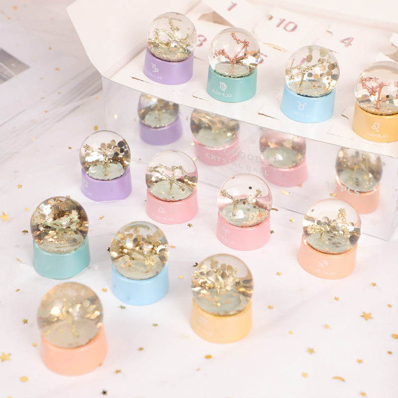 Twelve Constellations Crystal Ball Resin Gift Home Decoration Accessories for Living Room Bedroom Ornaments Birthday Present