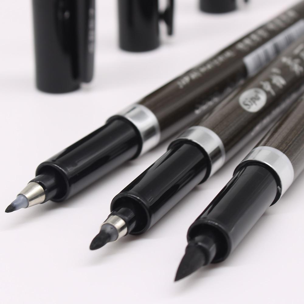 3 шт./компл. ручка-кисточка, ручка для каллиграфии, китайская искусственная Канцелярия, ручка-маркер для рисования, школьные принадлежности