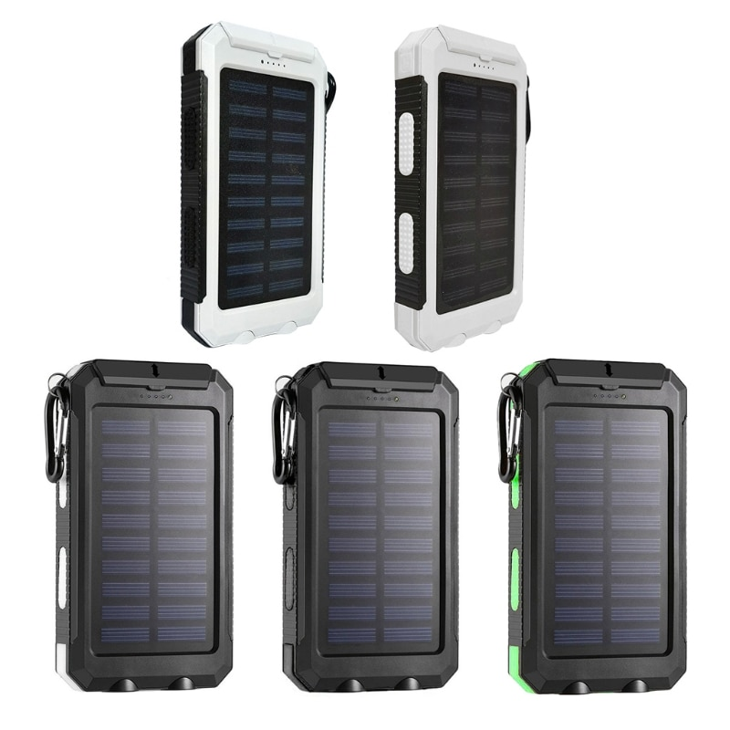 20000mAh Portable Outdoor Solar Power Bank, Solar Charger Camping External Backup Battery Pack with LED Light Waterproof