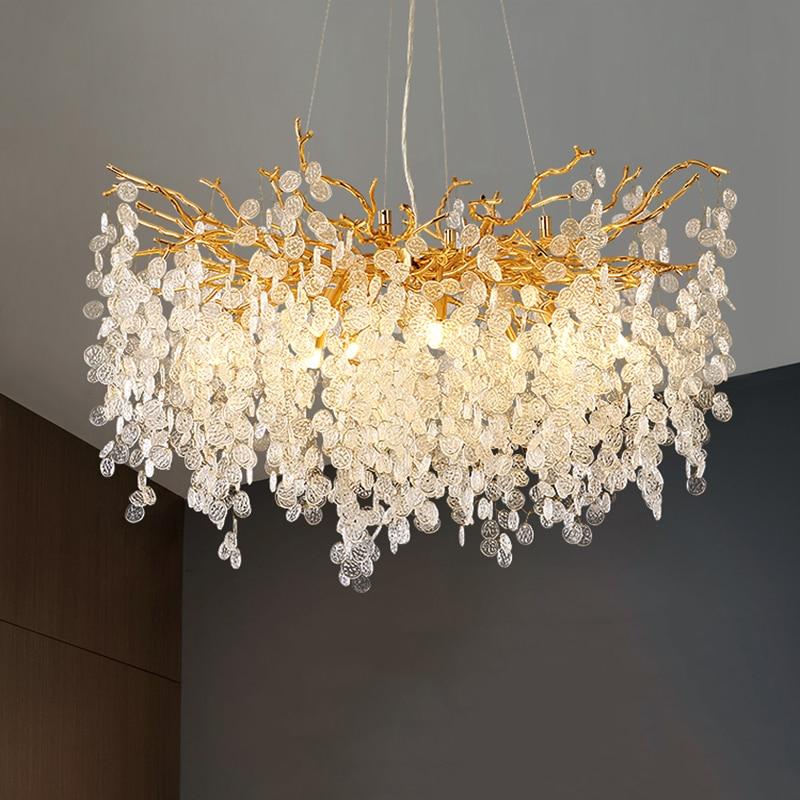 الحديثة الفاخرة كريستال LED أضواء الثريا ديكور المنزل لوفت فيلا بريق غرفة المعيشة فندق قاعة الفن داخلي إضاءة ديكوريّة