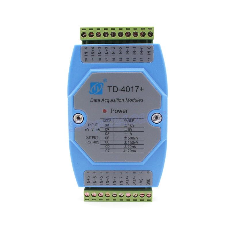TD-4017 Industrial 8 canales de entrada analógica a RS485 comunicación MODBUS-RTU Tarjeta de adquisición de señal 4-20mA módulo de colector