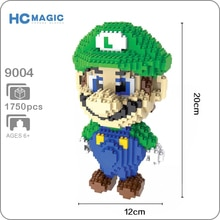 HC 9004 jeu Super Mario Luigi vert Figure 3D modèle 1750 pièces bricolage Mini diamant construction petits blocs briques assemblage jouet sans boîte