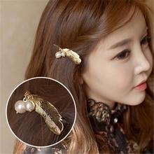 New Fashion Big Pearl Hair Clip for Women Elegant Gold  silver feather shape Alloy Barrettes Girls Hair Accessories Headwear