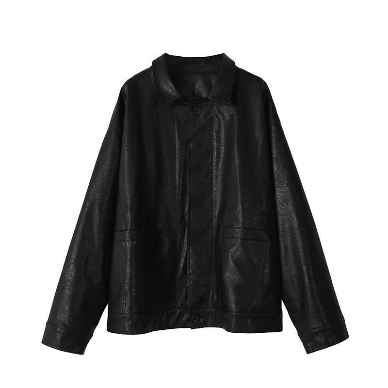 Black leather jacket women Korean thin loose motorcycle jacket women 2021 spring fashion streetwear