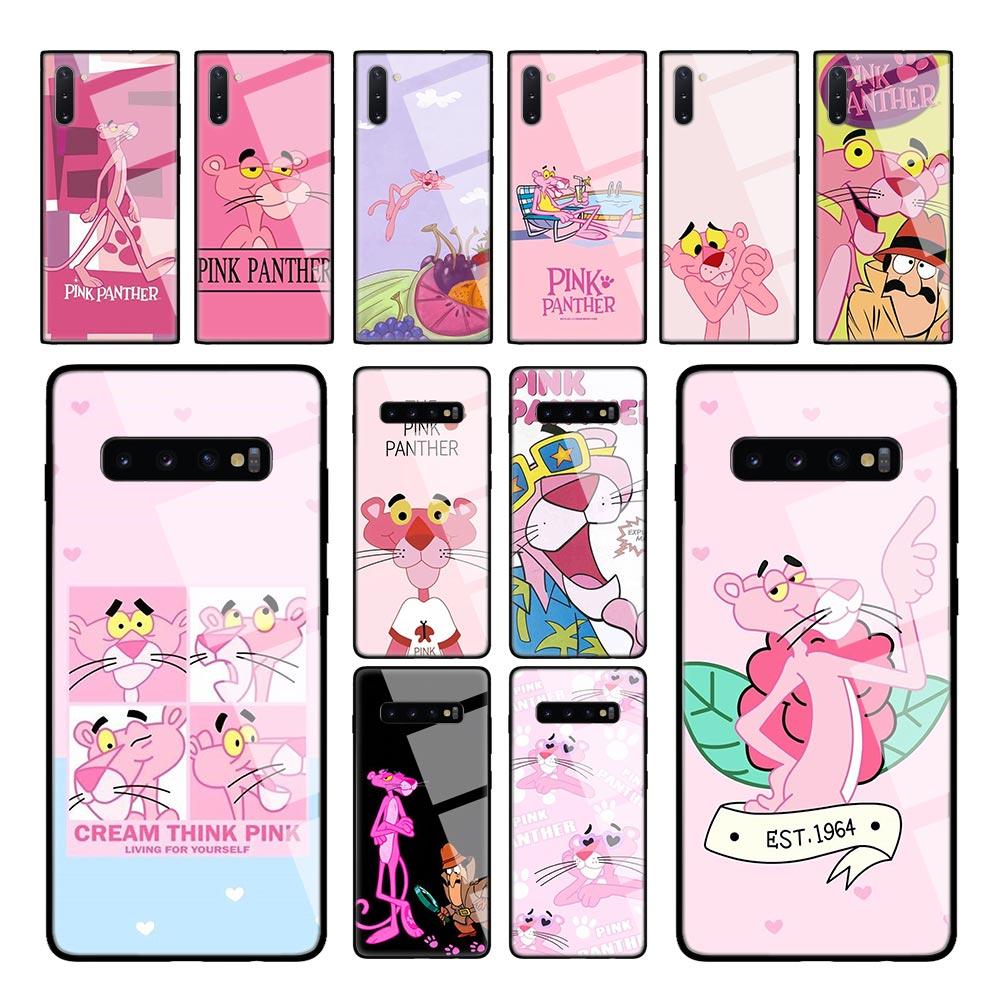 Caixa de vidro temperado pantera rosa para samsung galaxy s10e s8 s9 s10 plus a50 a70 nota 9 10 capa telefone