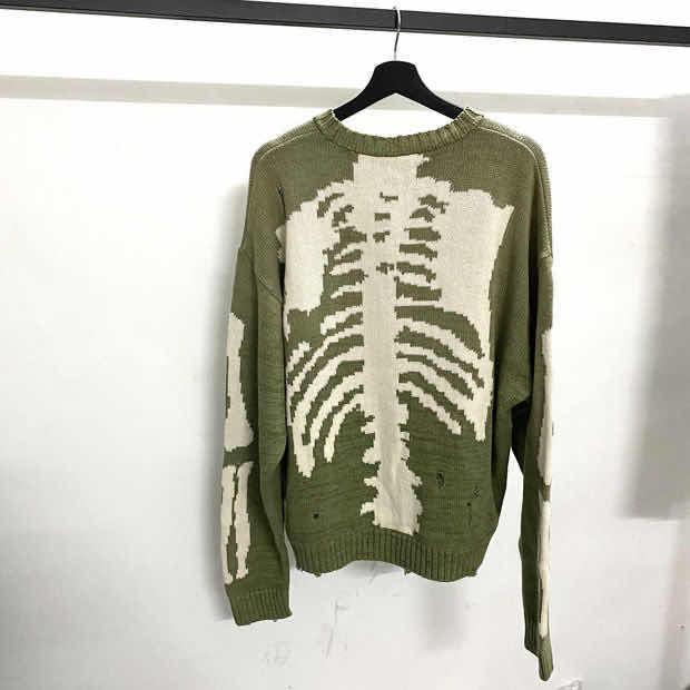 Green Loose Skeleton Bone Printing Sweater  Men Woman Good Quality High Street Damage Hole Vintage 1:1 Knit Sweater
