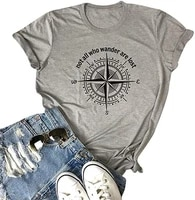 womens not all who wander are lost t shirt workout shirts summer funny letters compass graphic casual tops athletic tee