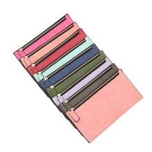 2019 New Simple Designer Zipper Women Soft Pu Leather Slim Wallet Purse Clutch Thin Wristlet Phone Coin Credit Card Holder Bags