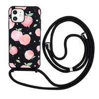 peach phone case necklace lanyard for iphone 12 11 8 7 se 2020 mini pro x xs xr max plus