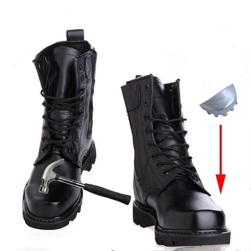 الرجال أحذية جيش بو الجلود الرجال الصلب الأصابع أحذية السلامة أحذية الربيع عالية الجودة الصلب أسفل الأحذية العسكرية