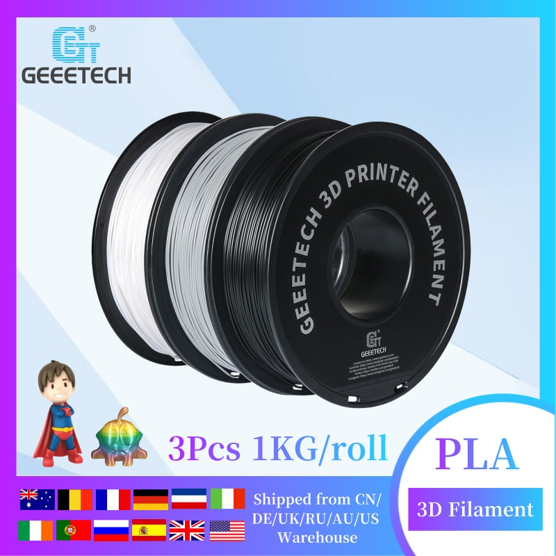 Geeetech PLA Filament 3X 1kg Spool 1.75mm for most FDM 3D printer 3Pcs 1KG/roll, 3D Printer Consumables, Tangle-Free, Non-Toxic geeetech 1kg 1 75mm pla filament vacuum packaging overseas warehouses a variety of colors for 3d printers