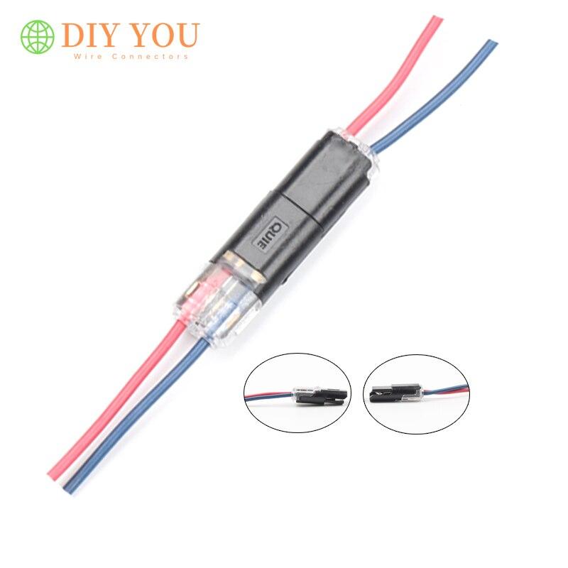 10/30/50/100 Uds. Conectores de resorte compactos universales de 2 pines conector de cable de empalme rápido para tira de led bloque de terminales de crimpado 23-20AWG