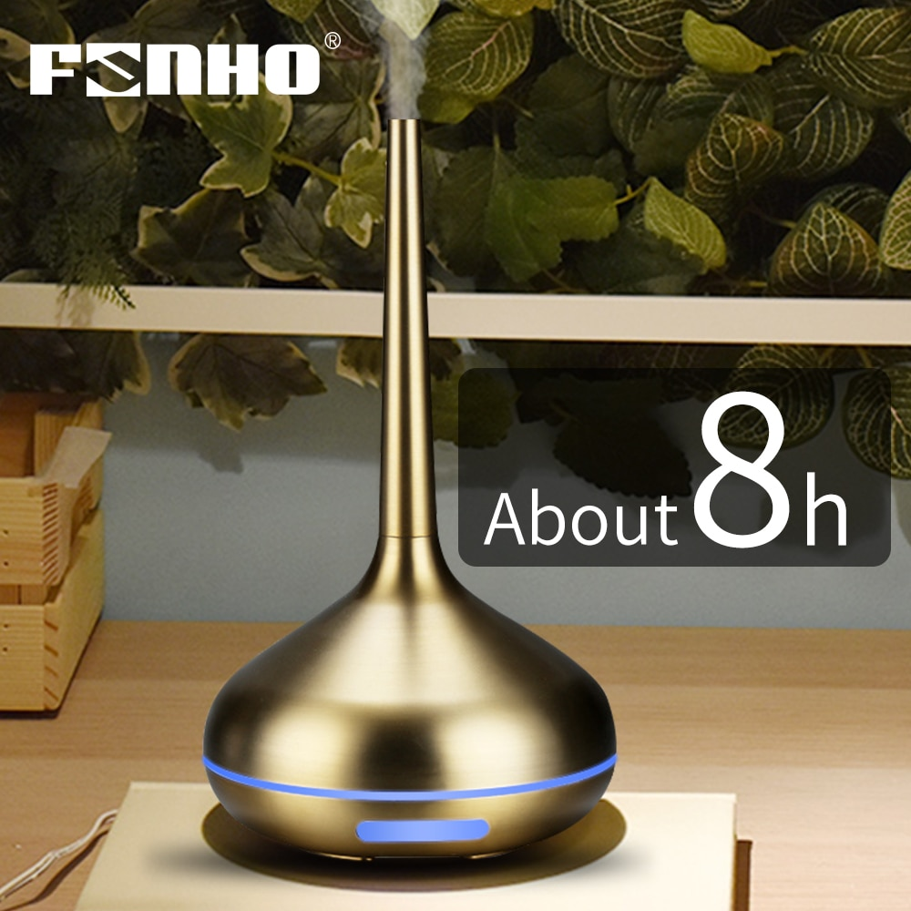 FUNHO الهواء المرطب زيت طبيعي الناشر الروائح الإسكان مرطب بالموجات فوق الصوتية USB الكهربائية المعادن ضباب صانع مصباح ليد