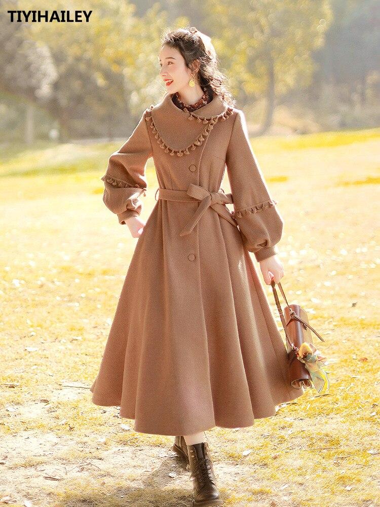 Boshow-معطف شتوي طويل عتيق ، حزام فانوس ، أكمام طويلة ، حاشية كبيرة ، شرابات من الصوف ، صدر واحد ، شحن مجاني