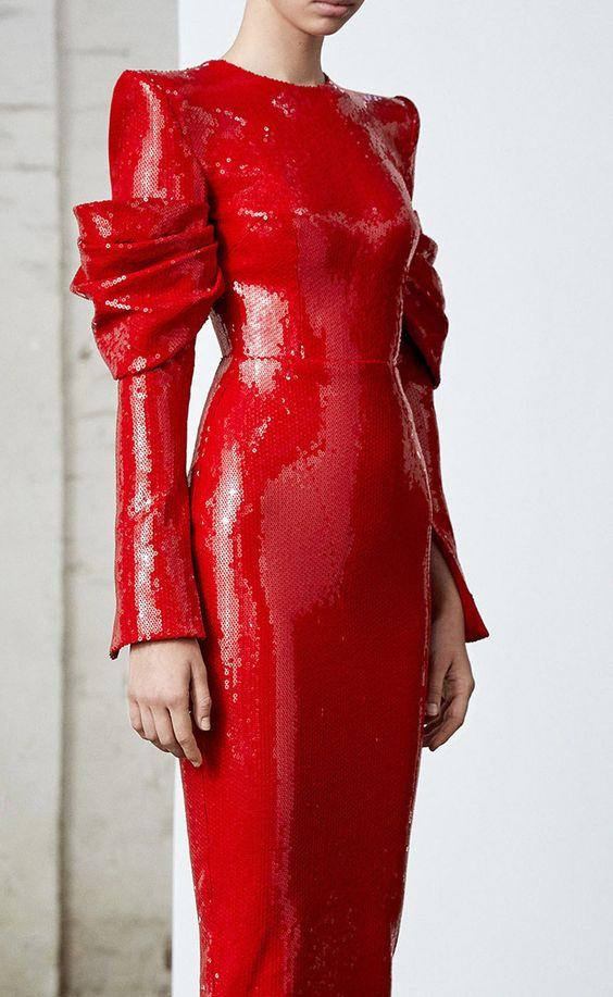 Promi Neue Ankunft Rot Langarm Glänzende Kleid Bodycon Abend Party Kleid
