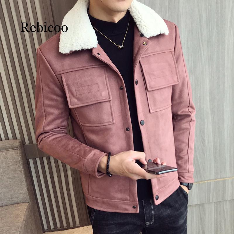 2019 nueva chaqueta de cuero de ante forrada de algodón para invierno con capucha cuello de abrigos de piel sintética Hombre Abrigos extra gruesos