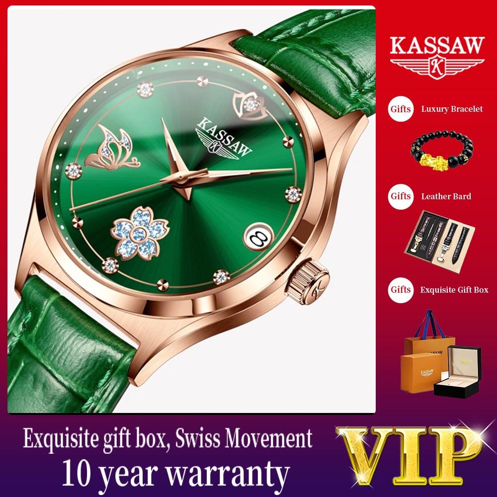 KASSAW Women Mechanical Watch Rose Gold Stainless Steel Ceramics Strap Dress Watches Fashion Luxury Brand Women's Automatic Watc
