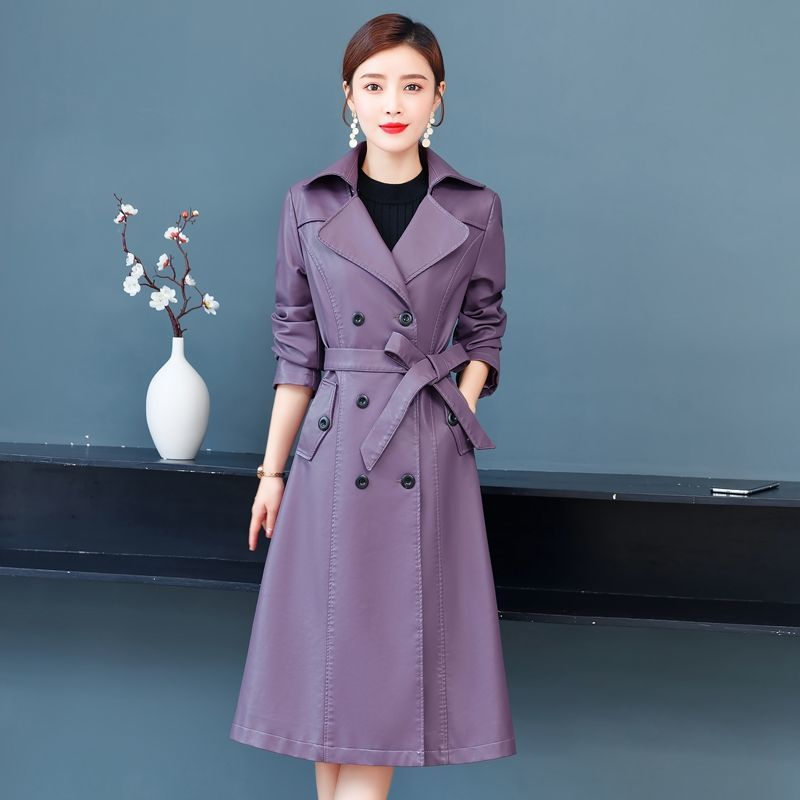 Women's Long Leather Coat  Fall 2021 New Full Sleeve Casual Style Clothing