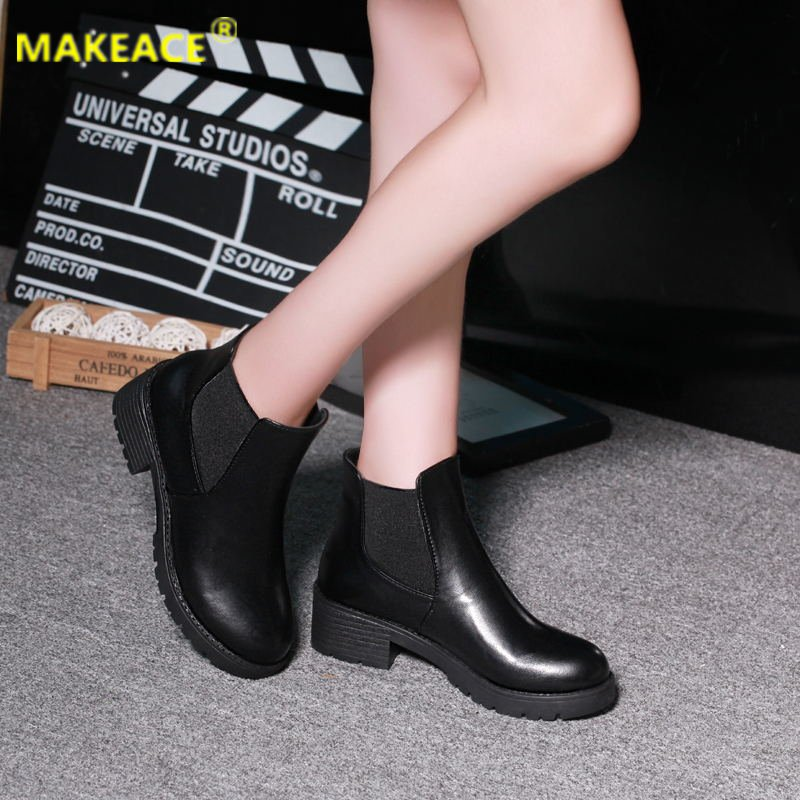 autumn winter men s chelsea boots british style fashion ankle boots black brown grey brogues soft leather casual shoes business Autumn Women's Ankle Boots Fashion Platform Women Shoes Chelsea Boots Casual Martin Boots Leather Women's Warm Foot Naked Boots