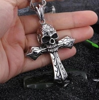 vintage gothic skull cross pendant necklace mens fashion punk rock motorcycle jewelry gift
