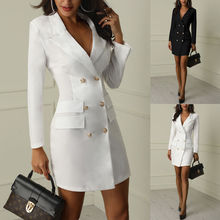 Black White Autumn Winter Casual Blazer Women Double Breasted Pocket Suit Long Jackets Long Sleeve B