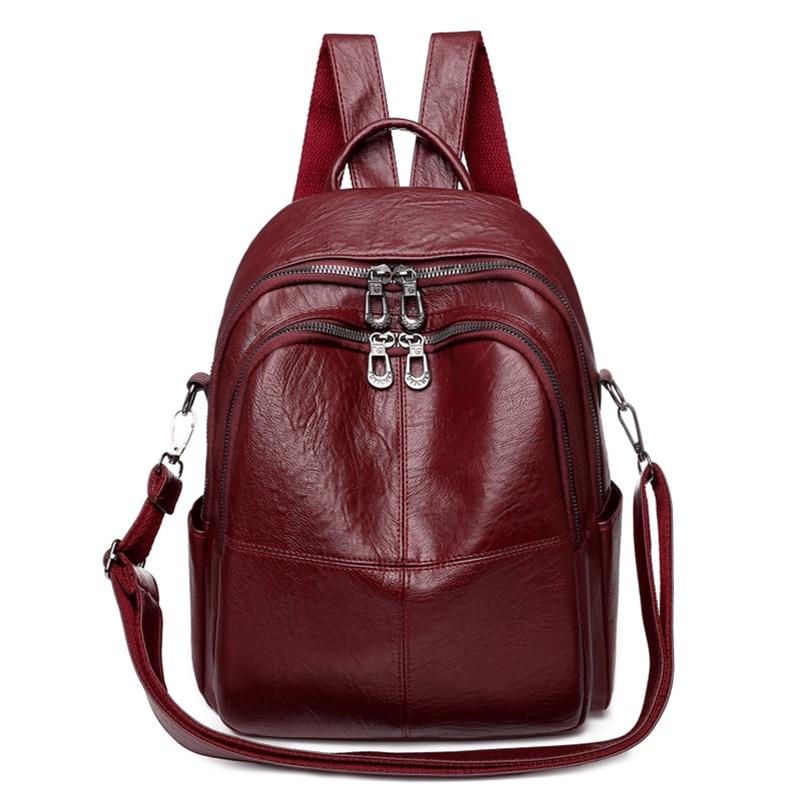 Женские кожаные рюкзаки, винтажный женский рюкзак, школьные сумки для девочек, рюкзак для путешествий, многофункциональный рюкзак Mochilas