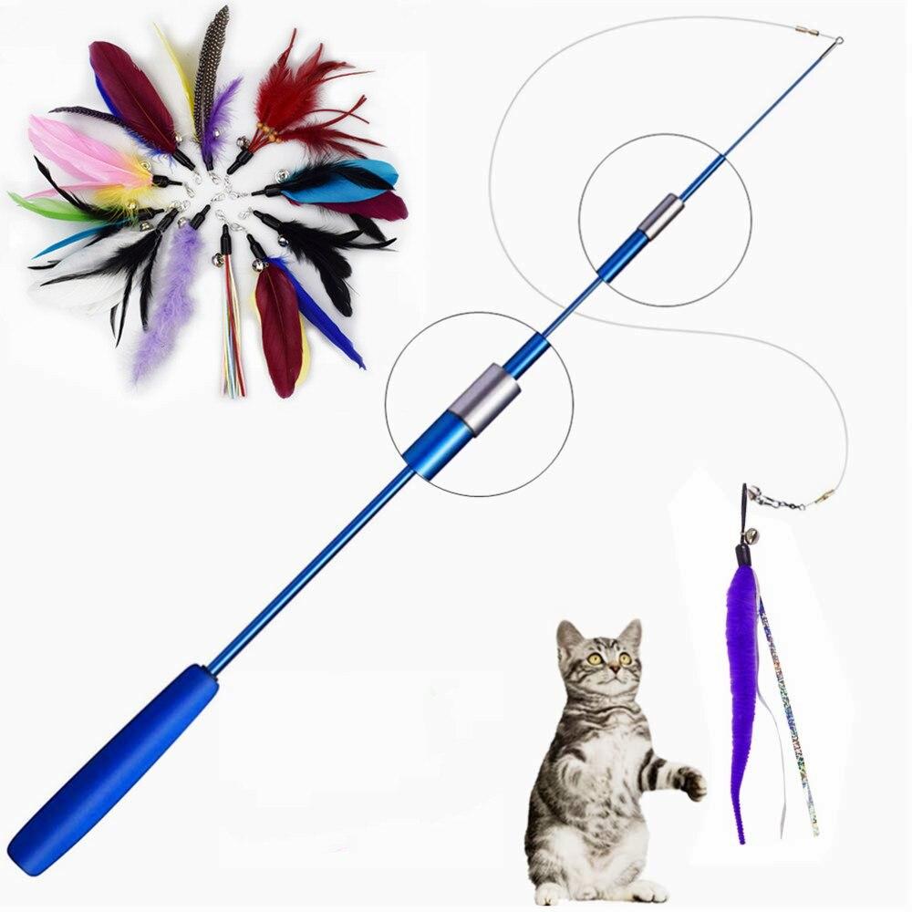 Juguete interactivo para gatos, varita retráctil de recambio de plumas, producto receptor...