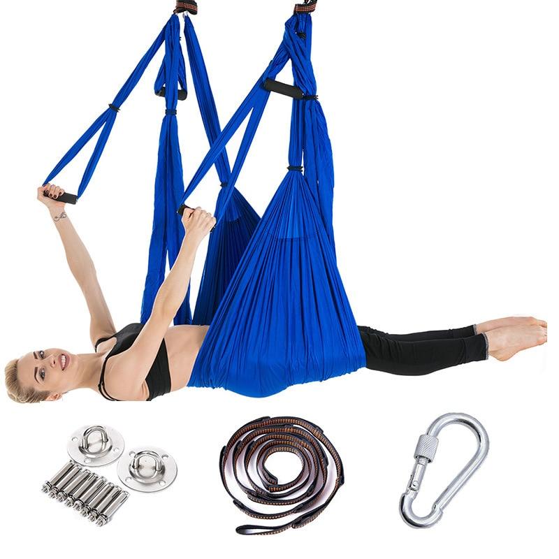 Full Aerial Yoga Hammock Set Reverse Gravity Hammock With Extension Strap For Garden Swing Yoga Pilates Hamac Fitness Equipment