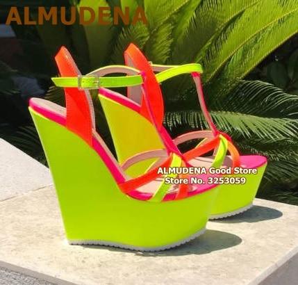 ALMUDENA-صندل بكعب ويدج أصفر نيون ، حذاء منصة ، أحزمة T ، لون الحلوى ، مقاس 47