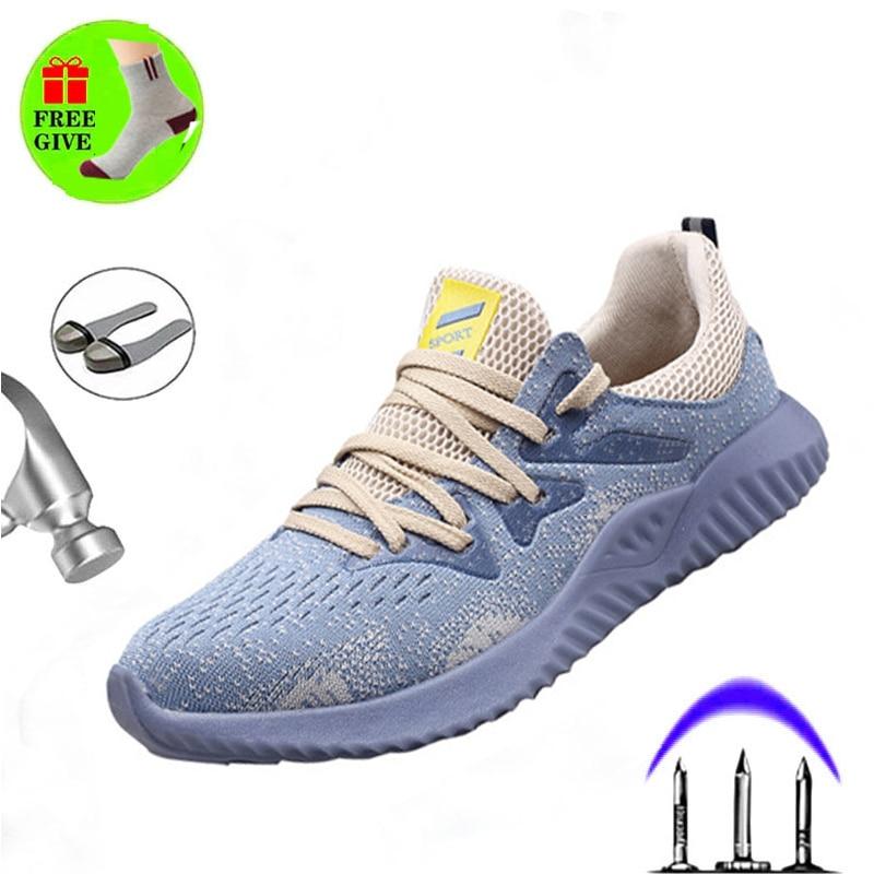 19 دروبشيبينغ غير قابل للتدمير رايدر أحذية الرجال والنساء سلامة الهواء الصلب تو أحذية ثقب واقية أحذية رياضية تنفس أحذية عمل